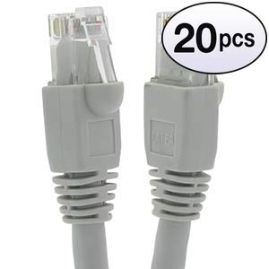 GOWOS Cat6a Ethernet Cable (20-Pack - 75 Feet) Gray - 24AWG Network Cable with Gold Plated RJ45 Snagless/Molded/Booted Connector - 10 Gigabit/Sec High Speed LAN Internet/Patch Cable - 550MHz