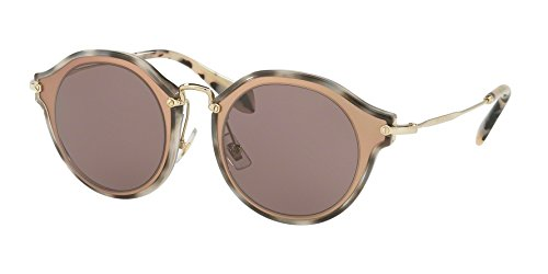 Miu Miu MU51SS VA86X1 Matte Pink MU51SS Round Sunglasses Lens Category 2 Size - Sunglasses Round Miu Miu Noir