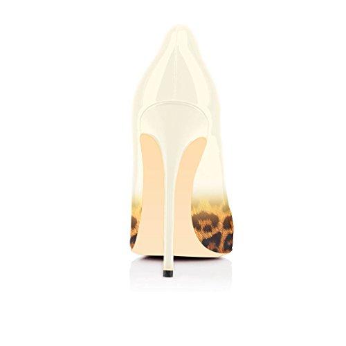 Fsj Donna Moda Tacco Alto Stiletto Leopardo Scarpe A Punta Pompe Da Sera Scarpe Da Festa Taglia 4-15 Us Beige