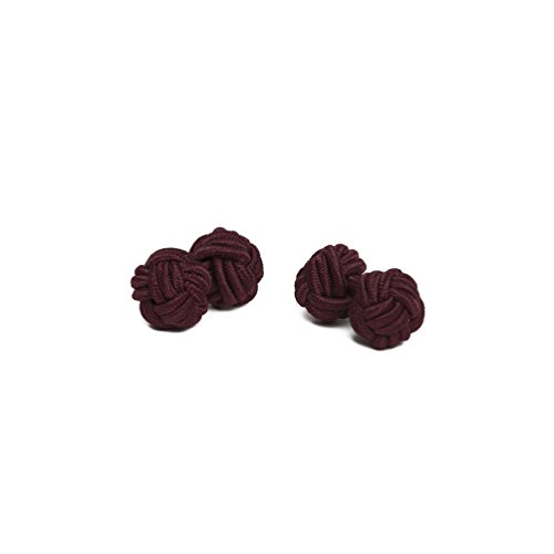 (Jacob Alexander Pair of Solid Color Silk Knot Cufflinks - Burgundy Wine )