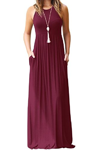 Length Full Wine Red Women Lounge Pockets Comfort Dress Coolred Sling Colour Pure wA0x8qqvS