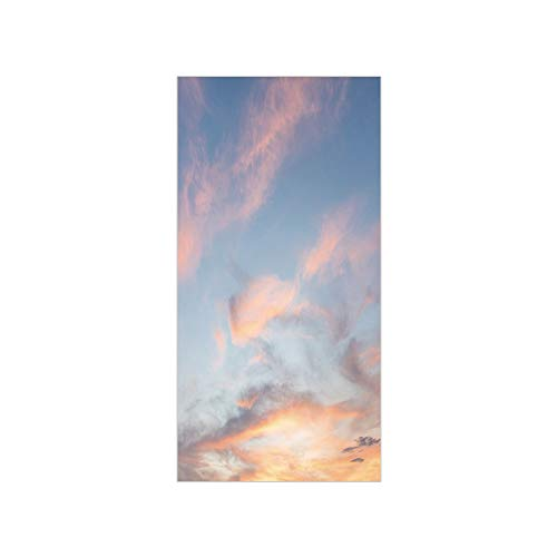 3D Decorative Film Privacy Window Film No Glue,Sky,Skyline with Clouds Sunset Artistic Photography Inspiring Majestic Image,Pale Blue Yellow Peach,for Home&Office