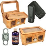 Display Cigar Humidor Palacio 120 cigars / Cigar Cutter / Cigar Case (Cuban Crafters Humidor)