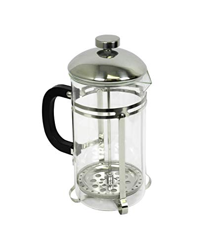 - Glass & Stainless Steel French Press Coffee Maker (33 oz), Clear Glass Body, Stainless Steel Accents, Sturdy Black Handle, Hot or Cold Drinks, Ideal for Steeping Coffee or Tea