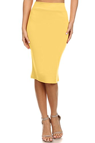 Simlu Yellow Pencil Skirt Plus Size and reg Below The Knee Skirts For Women,XX-Large -