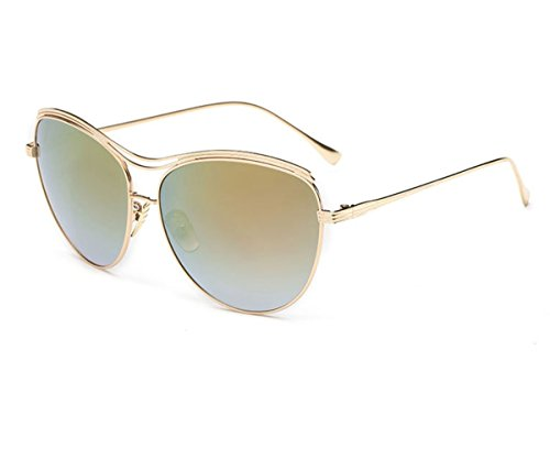 Konalla Oversized Full Metal Crossbar Flash Cat Eye Lens Sunglasses for Womens - Tumblr 2016 Sunglasses