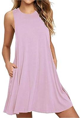 Women's Summer Casual T Shirt Dresses Beach Cover up Plain Pleated Tank Dress