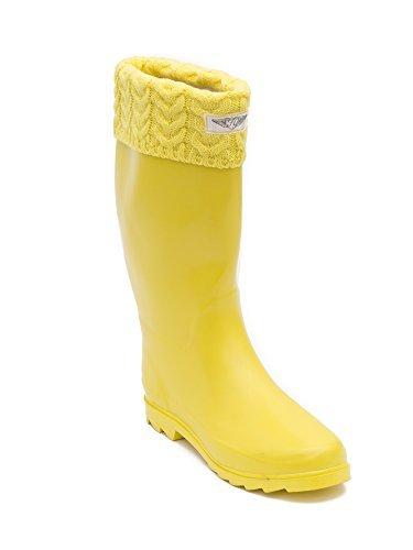 Women's & Ladies Tall Below Knee Flat Knit Cuff Rubber Rain Boots / Snow Boots (10, Gold (Yellow Gold Footwear)