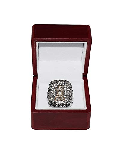 FLORIDA STATE UNIVERSITY (Clifton Abraham) 1993 BCS NATIONAL CHAMPIONS (Orange Bowl Champs) FSU Collectible Replica Silver Football Championship Ring with Cherrywood Display ()