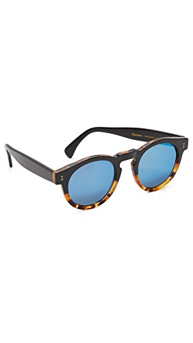 Illesteva Women's Leonard II Half and Half Mirrored Sunglasses, Black Light Tortoise/Blue, One - Sunglasses Leonard