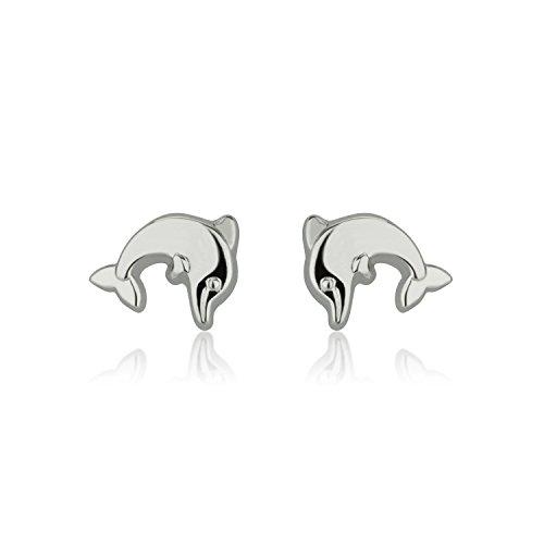 Dolphin White Ring Gold (14K Fine White Gold Dolphin Screw Back Stud Earrings for Girls Kids Children Gift)