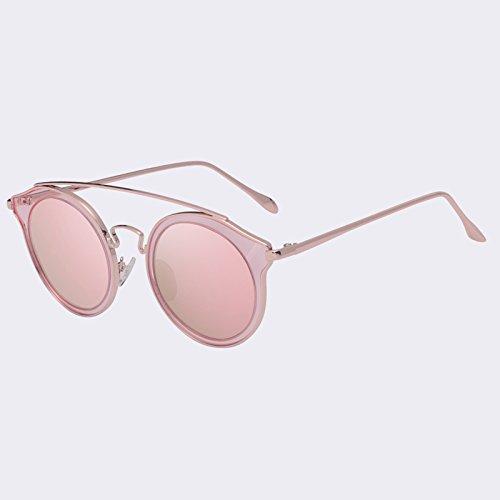 TIANLIANG04 Lunettes de soleil Lunettes de soleil polarisées lentille ronde Vintage miroir arrière lunettes rim,C05Gold