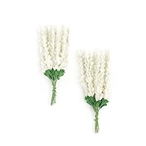 Savvi Jewels White Baby's Breath Mulberry Paper Flowers with Wire Stems, Mini Paper Flowers, Wedding Flowers Boutonnières Craft Flowers 50 Pieces 53