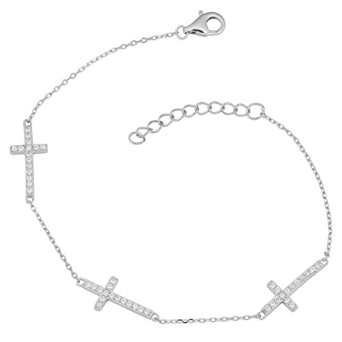 - Kooljewelry Sterling Silver Cubic Zirconia Cross Station Adjustable Length Bracelet (7 to 8 inch)