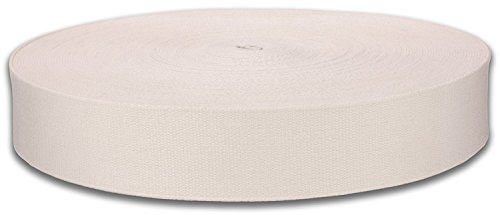 QIANF 1 1/2 Inch Natural Heavy Cotton Webbing, 10 Yards (2 Handles Webbing)