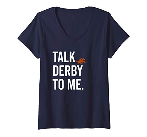 Womens Talk Derby To Me Cute Fancy Costume Equestrian Gift V-Neck T-Shirt -