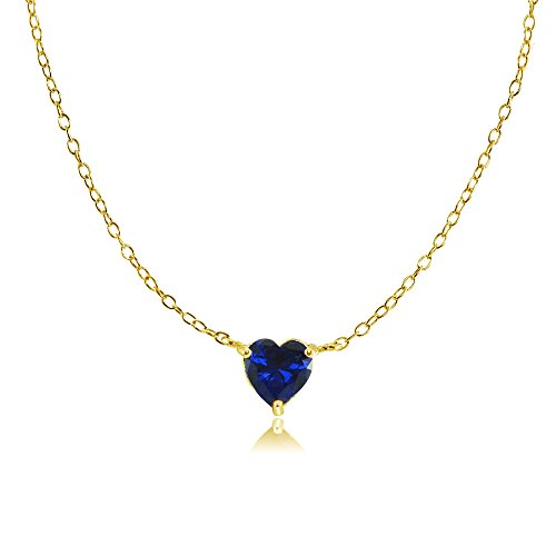 Sterling Silver Small Dainty Created Blue Sapphire Choker Necklace ()