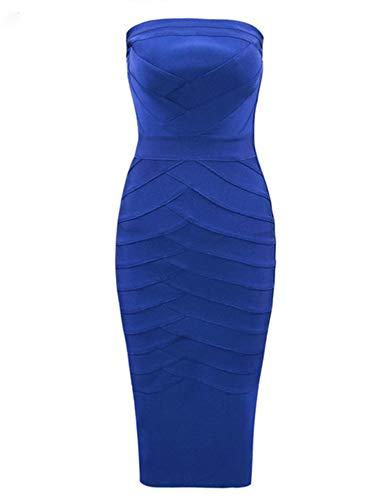 Women's Strapless Bandage Dress Celebrity Midi Evening Party Bodycon Dresses (Blue(e), M)