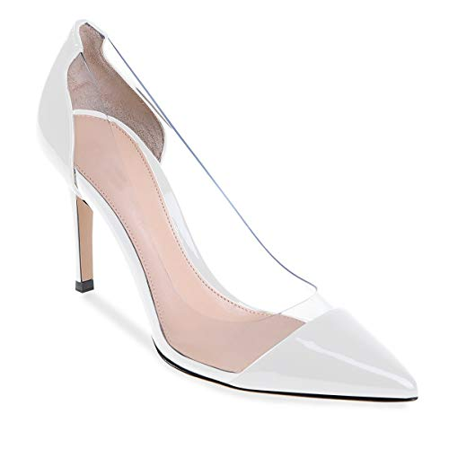 Kengät Korkki Valkoinen Läpinäkyvä Teräväkärkiset Wedding Dress 8cm Pointed Eldof Event High Hääpuku Korkokenkiä Womens Korkokengät Stilettos Pumput White Pumps Shoes Pvc Toe Cap Tapahtuma Heel Kärki Naisten Transparent wRFwf