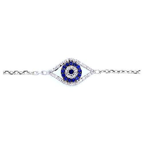 Diamond and Blue Sapphire Evil Eye Bracelet, 7 Inch in 14k White Gold
