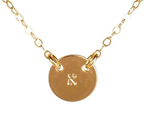 EFYTAL Hebrew Initial Necklace - Dainty Gold Filled Hand Stamped Hebrew Letter - Bat Mitzvah Gift (Meaning Of The Name Karen In Hebrew)