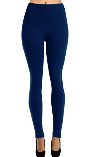 Solid Full Length Fleece Leggings for Regular and Plus Size (Navy, Fit Size (14-24/L-2XL))