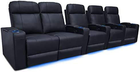 Valencia Piacenza Home Theater Seating Premium Top Grain 9000 Black Leather, Power Recliner, LED Lighting Row of 5 Loveseat Left