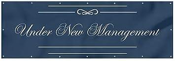 12x4 CGSignLab Under New Management Classic Navy Heavy-Duty Outdoor Vinyl Banner