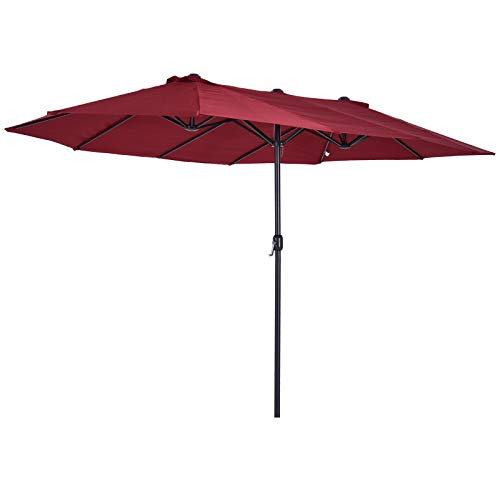 Outsunny 15' Steel Rectangular Outdoor Double Sided Market Patio Umbrella - Wine Red