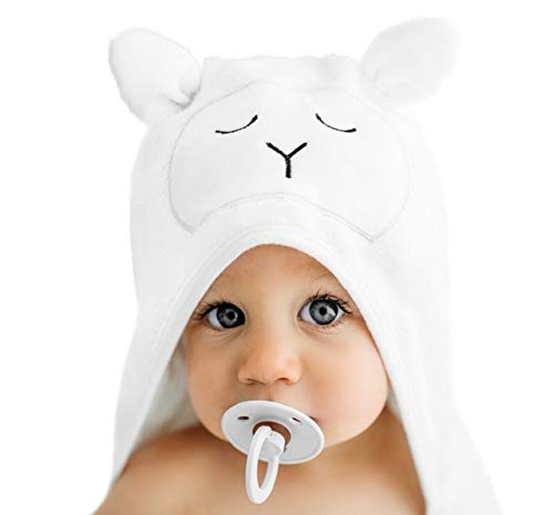 Lilyseed Premium Hooded Baby Towel and Washcloth Gift Set - Organic Ultra Soft Bamboo Baby Towels with Hood for Boys or Girls, Infants,Toddlers - Baby Shower Gift - XL - White - Animal Face with Ears
