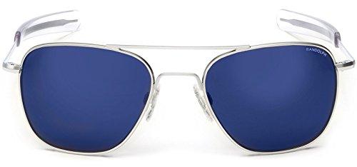 Randolph Aviator Matte Chrome Bayonet Temple Blue Sky Flash Mirror Non-Polarized Sunglasses (58mm) ()