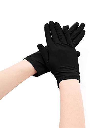 uxcell Women Wrist Length Matte Full Finger Stretchy Gloves 5 Pairs Black]()