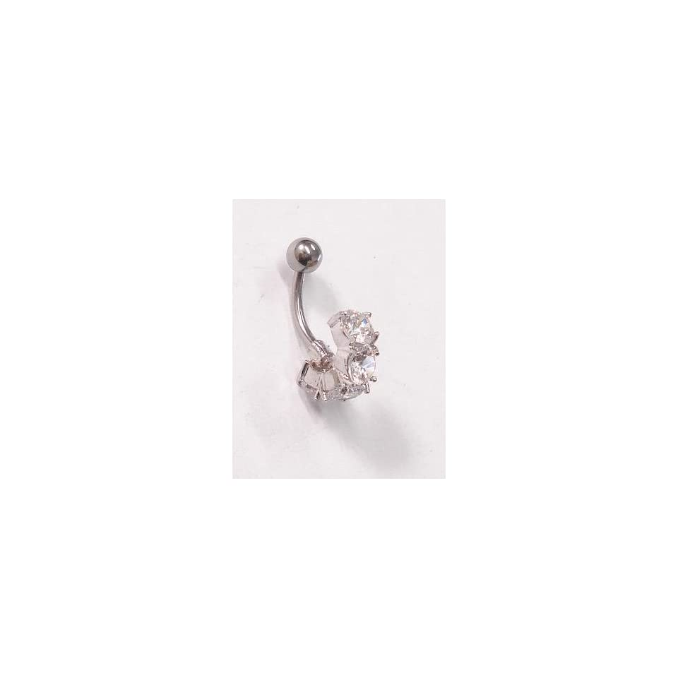 Curved Crystal Gems Belly Ring