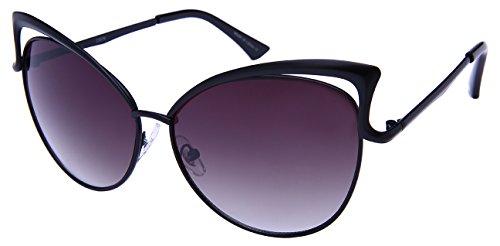 Edge I-Wear Open Metal Frame Cat Eye Sunnies w/Color Mirror Lens - Sunglasses Cute Inexpensive