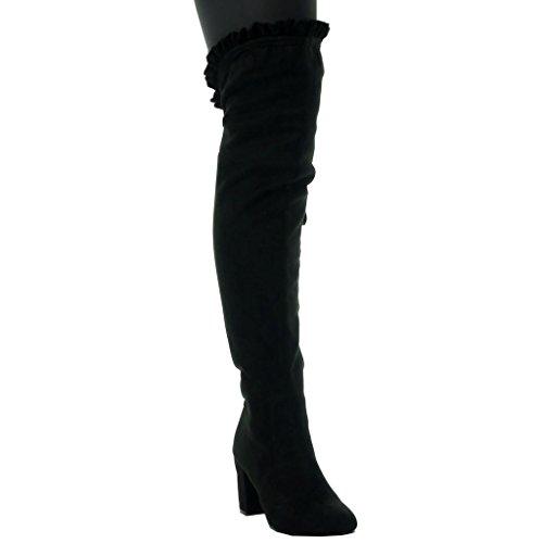 Tacón Flexible Negro Sexy Cavalier Angkorly Cm Botas Plantilla Altas Piel 8 Mujer Moda Ancho Talón Forrada De Zapatillas Alto HwqFBv