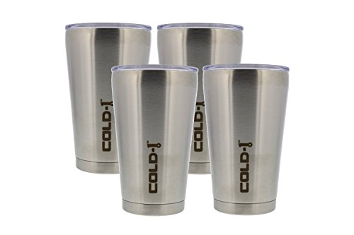 Reduce COLD-1 4 Pack 16 oz. Stainless Steel Insulated Tumblers with Lids,Keeps Beer and Beverages Cold for 12 hrs or Hot for 4 hrs! Great for Vacation, Camping, Parties, Tailgaiting, BBQ's!