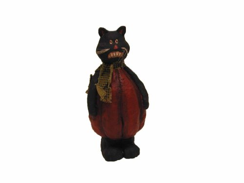 Craft Outlet Black Cat with Pumpkin Body Figurine,