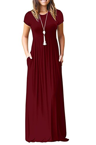 Women's Casual Short Sleeve Long Maxi Tunic Dresses Wine Red Medium -