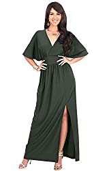 KOH KOH Womens Long Sexy Kimono Short Sleeve Slit Wrap V-Neck Gowns Maxi Dress