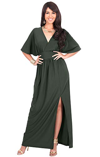 KOH KOH Plus Size Womens Long Sexy Kimono Short Sleeve Slit Split V-Neck Party Cocktail Evening Bridesmaid Wedding Guest Sun Gown Gowns Maxi Dress Dresses for Women, Olive Green 2XL 18-20