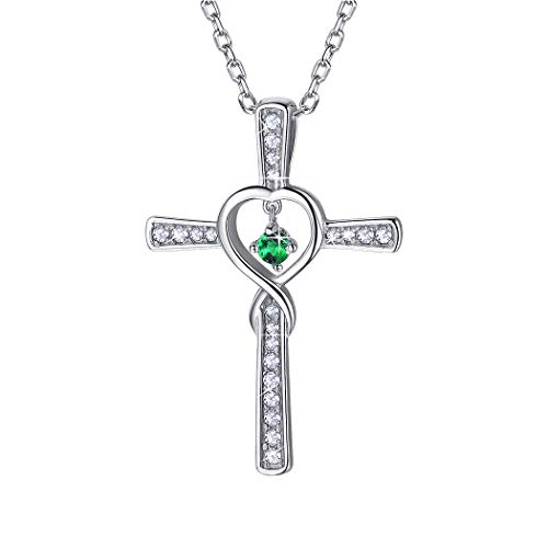 Cross Plated Emerald Silver - Birthstone Cross Necklace Sterling Silver May Emerald Birthday Gift CZ Love Heart Infinity Necklace for Women/Girls