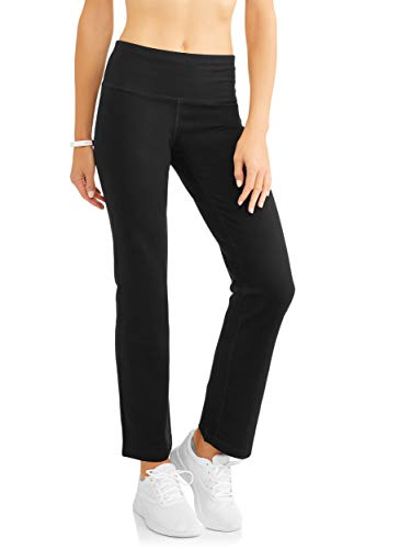 Athletic Works Women's Straight Leg Pant, Black, L Petite