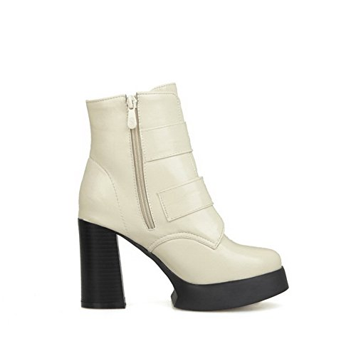 Heels Solid Beige Toe High Blend Closed Materials Round Womens Boots AmoonyFashion 0wgPA