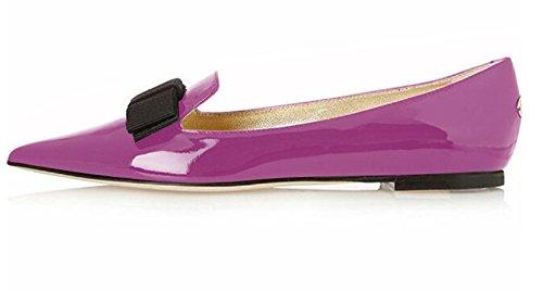 Classic Flats Flats Toe Walking Flats Office Leather Pumps Women's Patent Pointed Comfortable Dress Pumps Flats Eldof Purple wxqZOTc