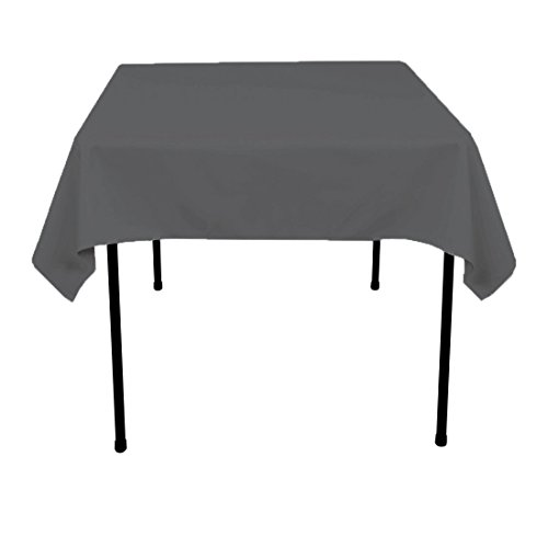 Square Charcoal - Gee Di Moda Square Tablecloth - 52 x 52 Inch - Charcoal Square Table Cloth for Square or Round Tables in Washable Polyester - Great for Buffet Table, Parties, Holiday Dinner, Wedding & More