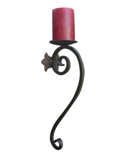 (Shoreline Handmade Wrought Iron Candle Wall Holder/Sconce for Cup/Pillar candles-Antique Iron Patina)