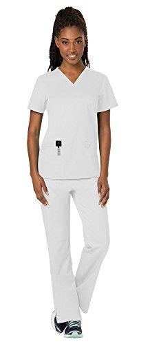 (Cherokee Workwear Revolution Women's Medical Uniforms Scrubs Set Bundle - WW620 V-Neck Scrub Top & WW110 Elastic Waist Scrub Pants & MS Badge Reel (White - XX-Large/XXX-Large))