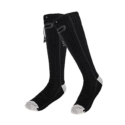 4000mah Electric Socks Rechargeable Heated Battery Powered Thermal Socks for Winter Sports Skiing Hiking Black
