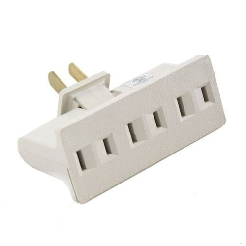 3 Outlet Grounded AC Power 2 Prong Swivel Light Wall Tap Ada