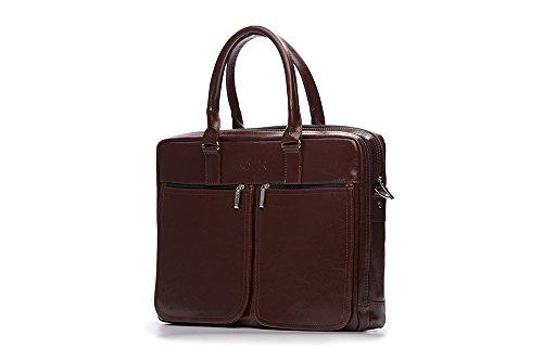Solier Elegante Bolsos de mano para Hombre Cuero genuino Bolsa para portátil hecho a mano Dundee SL01 (Marron oscuro) Brown/Maroon